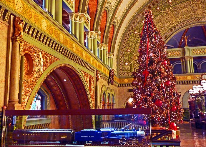 Union Station Greeting Card featuring the photograph Union Station Christmas by William Fields