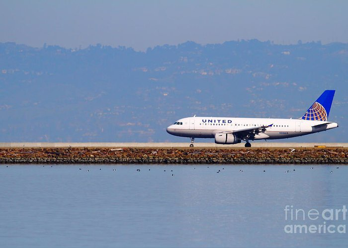 United Greeting Card featuring the photograph United Airlines Jet Airplane At San Francisco International Airport Sfo . 7d11998 by Wingsdomain Art and Photography