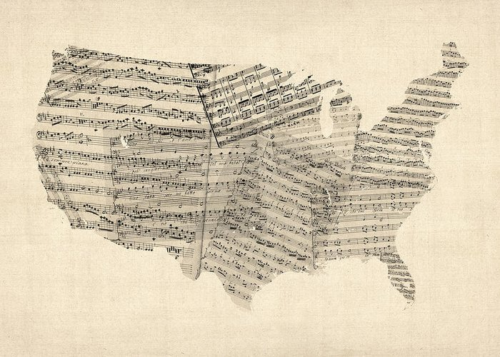 United States Map Greeting Card featuring the digital art United States Old Sheet Music Map by Michael Tompsett