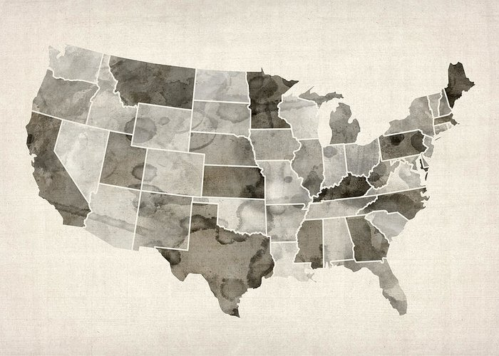 United States Map Greeting Card featuring the digital art United States Watercolor Map by Michael Tompsett