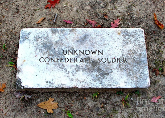 Memorial Greeting Card featuring the photograph Unknown Confederate Soldier by Renee Trenholm