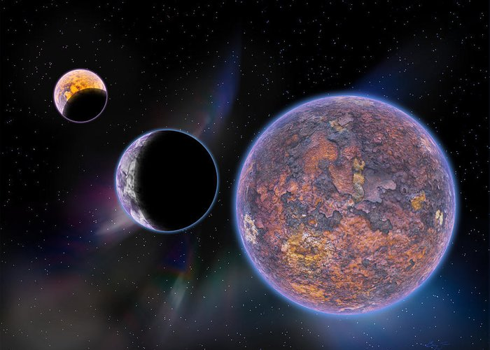 Planets Greeting Card featuring the digital art Unknown Worlds by Barry Jones