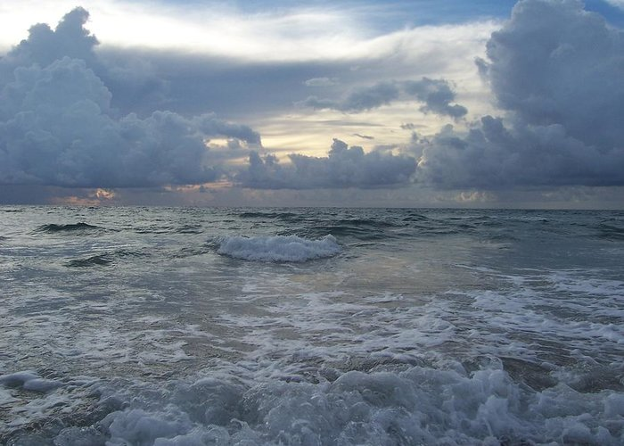 Waves Greeting Card featuring the photograph Up Close And Personal by Sheila Silverstein