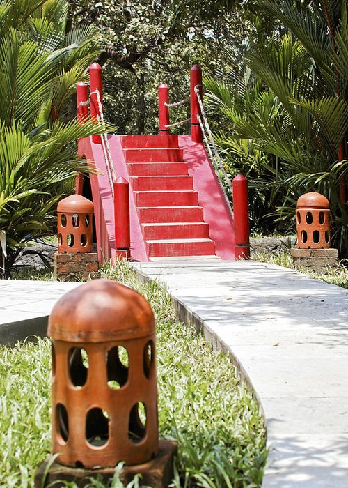 Interesting Greeting Card featuring the photograph Up Garden Path Over Red Bridge by Kantilal Patel
