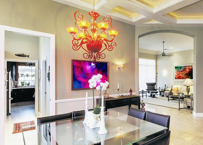 Architectural Detail Greeting Card featuring the photograph Upscale Dining Room Interior by Skip Nall