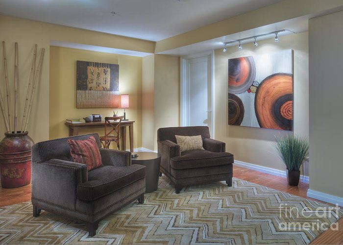 Abstract Greeting Card featuring the photograph Upscale Living Room Interior by Andersen Ross