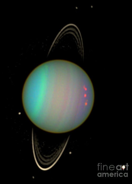 Science Greeting Card featuring the photograph Uranus With Moons by Nasa