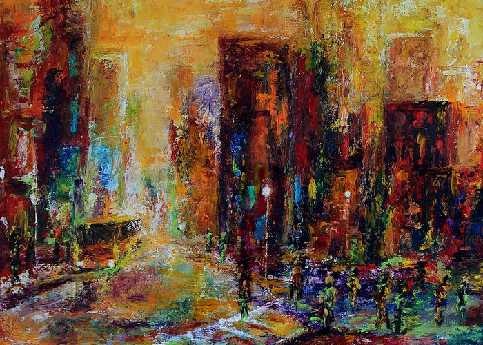 Cityscape Greeting Card featuring the painting Urban Apparitions by Laura Swink