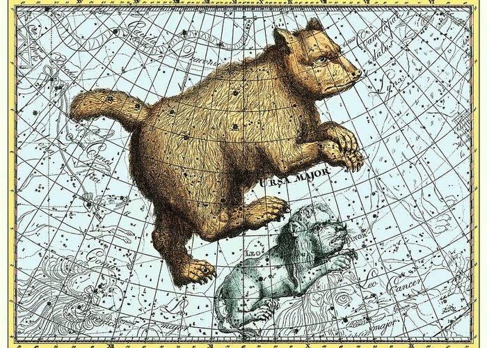 Ursa Major Greeting Card featuring the photograph Ursa Major Constellation, Bode Star Atlas by Detlev Van Ravenswaay