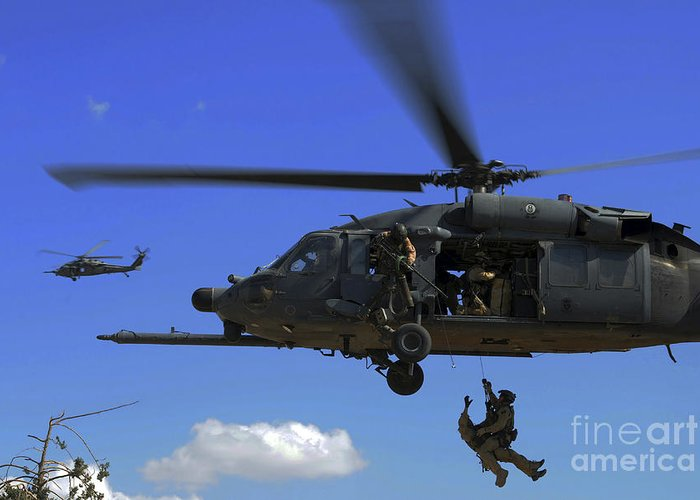 Pararescue Greeting Card featuring the photograph U.s. Air Force Pararescuemen by Stocktrek Images