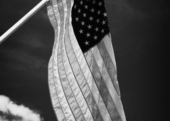 American Greeting Card featuring the photograph Us American Flag On Flagpole Against Blue Cloudy Sky Usa by Joe Fox