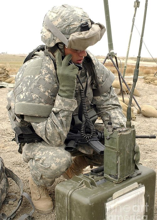 Box Greeting Card featuring the photograph U.s. Army Soldier Performs A Radio by Stocktrek Images