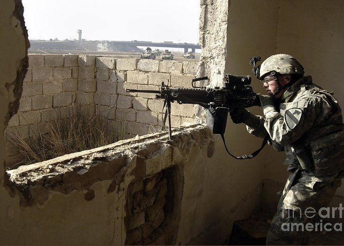 Operation Iraqi Freedom Greeting Card featuring the photograph U.s. Army Soldier Searching by Stocktrek Images