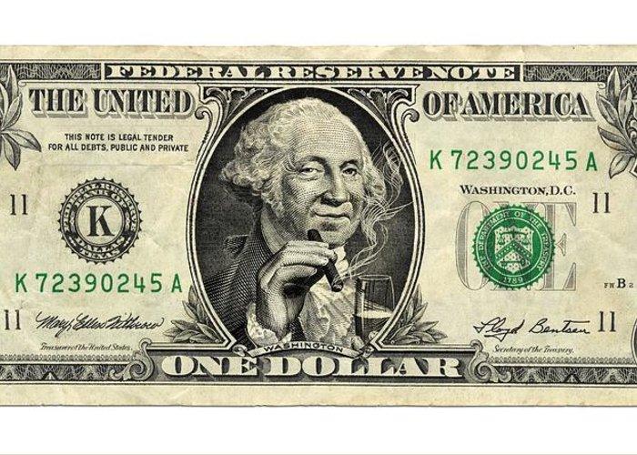 Us Dollar Bill, George Washington Parody Greeting Card