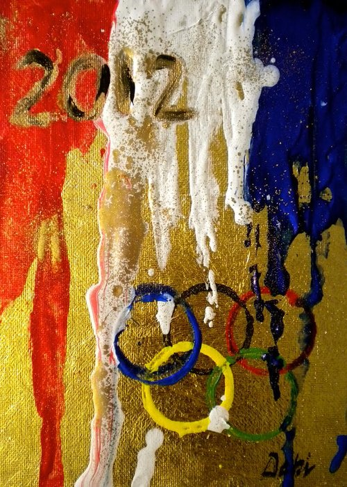 2012 Greeting Card featuring the painting Usa Strives For The Gold by Debi Starr