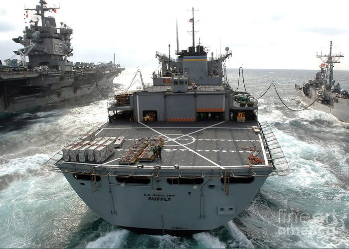 Color Image Greeting Card featuring the photograph Usns Supply Conducts A Replenishment by Stocktrek Images