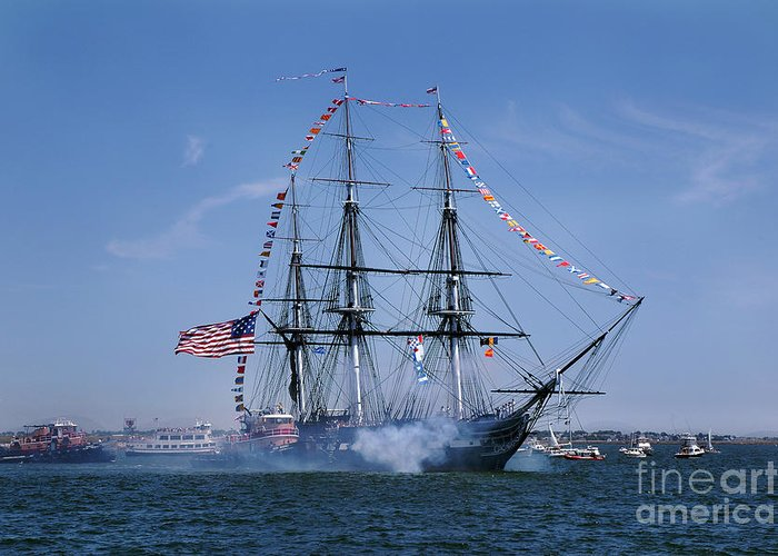 Boston Ma Greeting Card featuring the photograph Uss Constitution Turn Around 2010 by Gordon Gaul