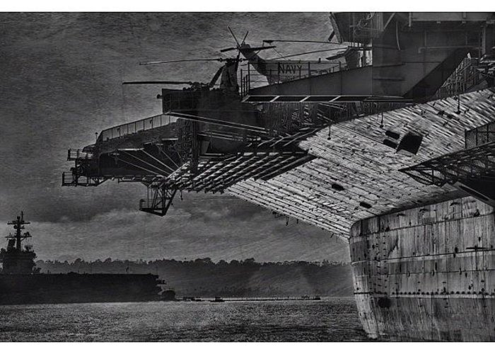 Greeting Card featuring the photograph Uss Midway by Larry Marshall