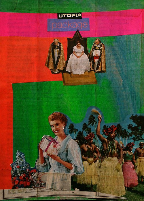 Post-colonialism Greeting Card featuring the mixed media Utopia Package by Adam Kissel