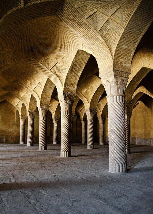 Shiraz Greeting Card featuring the photograph Vakil Mosque . Shiraz . Iran by Niloufar Hoseinzadeh