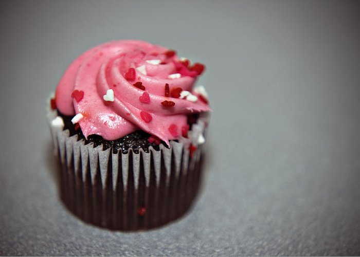 Against Greeting Card featuring the photograph Valentines Cupcake by Malania Hammer