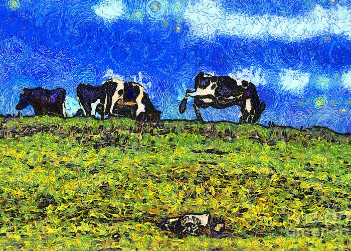 Cow Greeting Card featuring the photograph Van Gogh Goes Cow Tipping 7d3290 by Wingsdomain Art and Photography