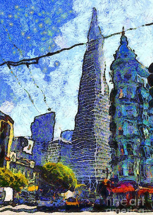 Transamerica Greeting Card featuring the photograph Van Gogh Sips Absinthe And Takes In The Views From North Beach In San Francisco . 7d7431 by Wingsdomain Art and Photography