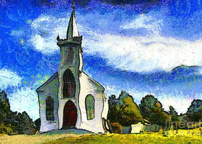 Church Greeting Card featuring the photograph Van Gogh.s Church On The Hill 7d12437 by Wingsdomain Art and Photography
