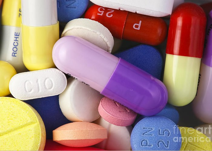 Tablets Greeting Card featuring the photograph Variety Of Pills by M. I. Walker