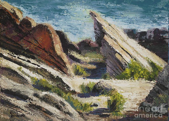 Landscape Greeting Card featuring the painting Vasquez Pass by Rich Arons