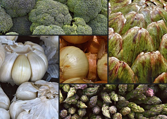 Broccoli Greeting Card featuring the photograph Vegetable Montage by Forest Alan Lee