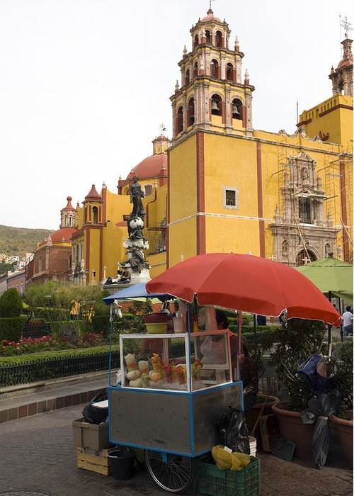 Color Image Greeting Card featuring the photograph Vending Cart Outside Of The Basilica De by Krista Rossow