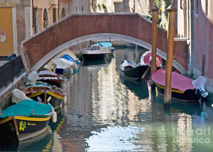 Rowing Greeting Card featuring the photograph Venetian Canal by Jim Chamberlain