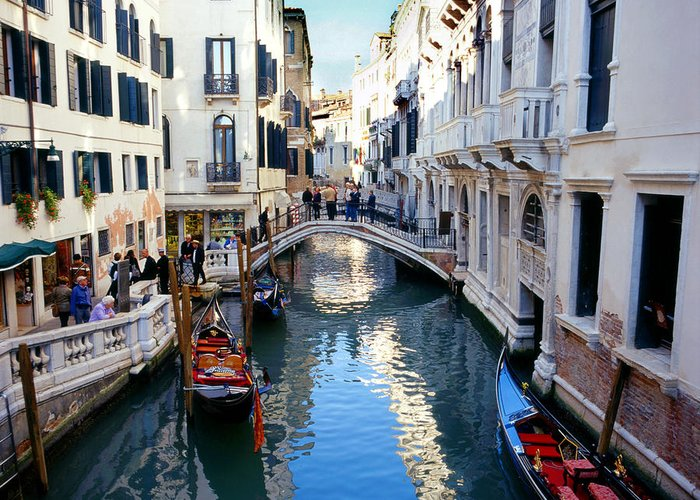 Venice Greeting Card featuring the photograph Venetian Canal by Paul Cowan