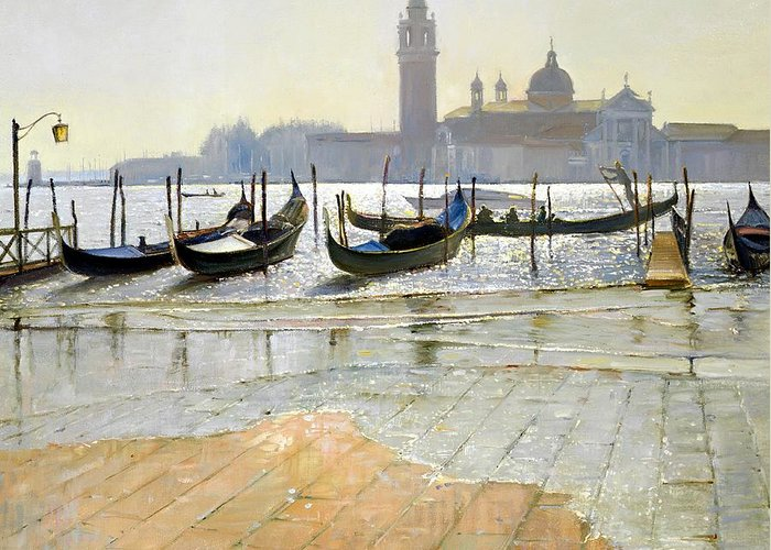 Gondola; Canal; San Giorgio Maggiore; Sunrise; Flooding; Flooded; Landscape Greeting Card featuring the painting Venice At Dawn by Timothy Easton