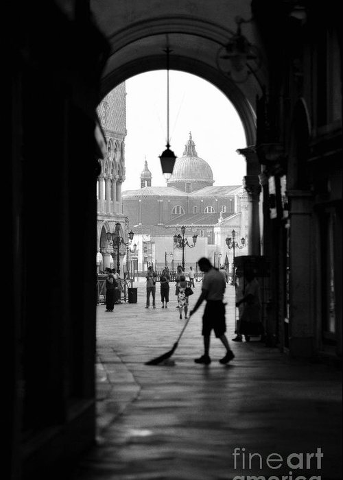 Black And White Greeting Card featuring the photograph Venice Morning Sweeper by Bryan Pereira