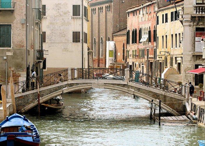 Angelica Dichiara Paintings Greeting Card featuring the photograph Venice Venezia Venetian Bridge by Italian Art