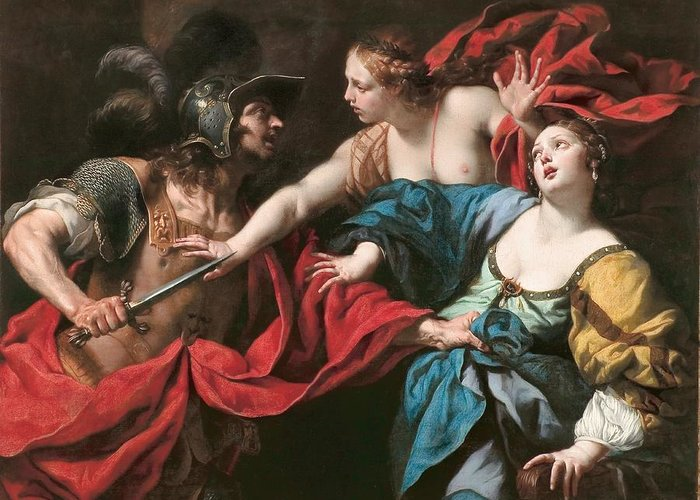 Roman Greeting Card featuring the painting Venus Preventing Her Son Aeneas From Killing Helen Of Troy by Luca Ferrari