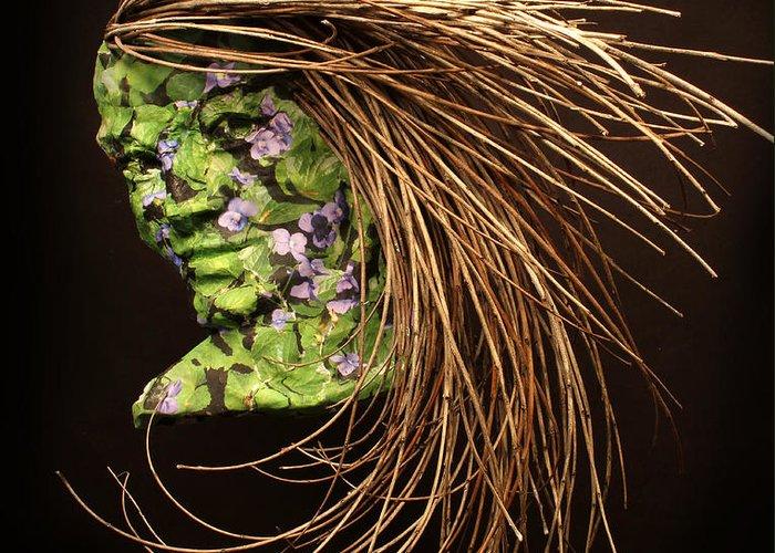 Art; Sculpture; Adam Long; Female; Woman; Girl; Figure; Nature; Natural; Environmental; Environment; Grow; Growth; Flower; Flowers Greeting Card featuring the sculpture Verdant by Adam Long