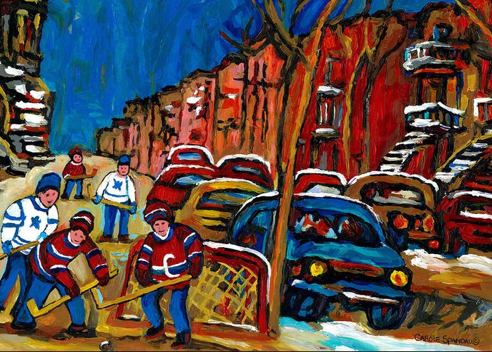 Streets Of Verdun Hockey Paintings By Montreal Artist Carole Spandau Greeting Card featuring the painting Verdun Rowhouses With Hockey - Paintings Of Verdun Montreal Street Scenes In Winter by Carole Spandau