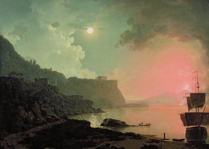 Vesuvius Greeting Card featuring the painting Vesuvius From Posillipo by Joseph Wright of Derby