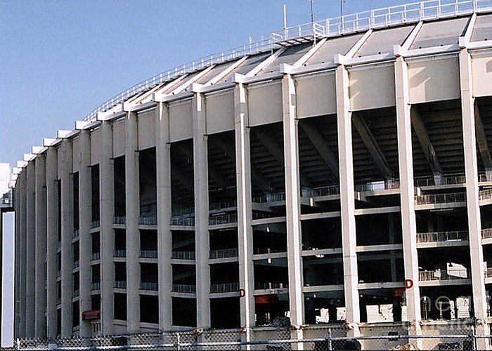 Architecture Building Structure Ballpark Stadium Veterans Stadium Philadelphia Pennsylvania Baseball Football Phillies Eagles Former Imploded Greeting Card featuring the photograph Vet Stadium by Susan Stevenson