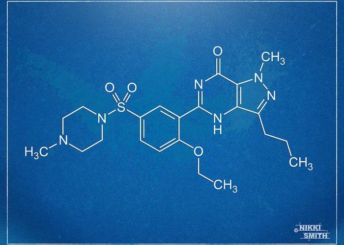 Viagra Greeting Card featuring the digital art Viagra Molecular Structure Blueprint by Nikki Marie Smith
