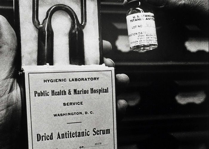 History Greeting Card featuring the photograph Vials Of Tetanus Antitoxin by Science Source