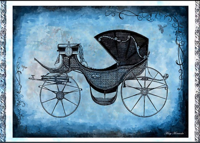Victorian Greeting Card featuring the mixed media Victorian Coach by Mary Morawska