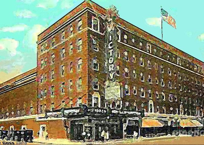 Evansville In Greeting Card featuring the painting Victory Theatre And Hotel Sonntag In Evansville In 1920 by Dwight Goss
