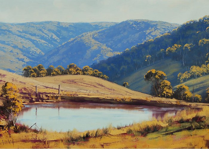 Central Tablelands Greeting Card featuring the painting View Across The Dam by Graham Gercken