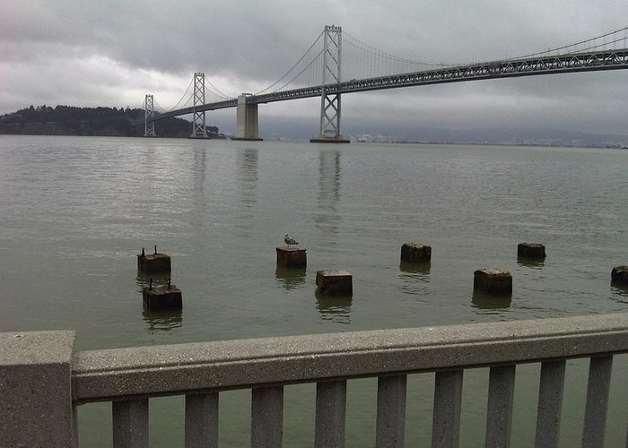 Bay Bridge Greeting Card featuring the photograph View From Embarcadero by Nimmi Solomon