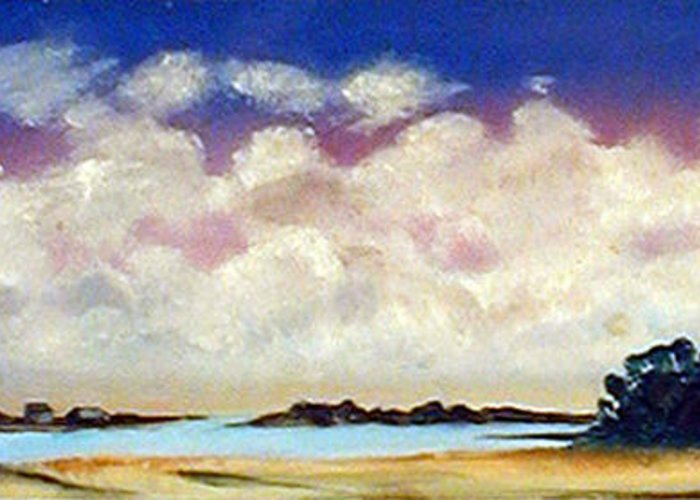 Clouds Greeting Card featuring the painting View From Pier by Robert Harvey