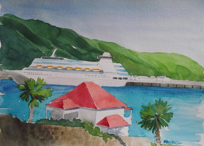 Cruise Ship Greeting Card featuring the painting View From The Castle by Robert Rohrich